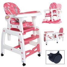 Seelux 3in 1Multi Adjustable Baby High Chair with Rocking Function (Pink)