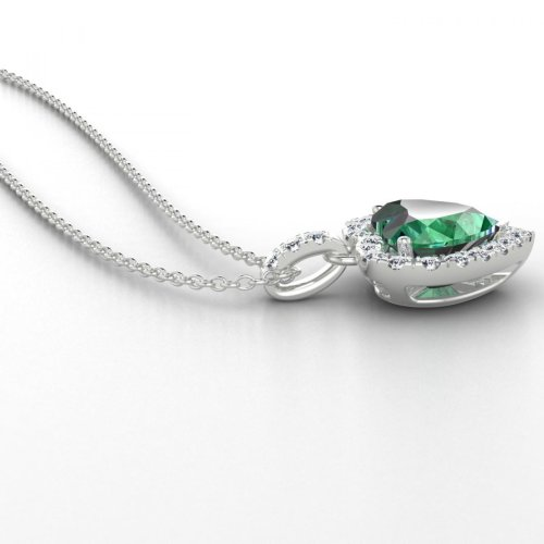 7.60 Ct. Heart Cut Emerald With Round Diamonds Pendant Necklace