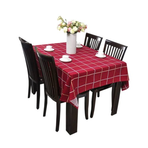 [Red Plaid] Cotton Canvas Tablecloth / Table Cloth / Table Cover(57 x 57 Inch)