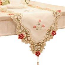 Fashionable Tribute Silk decor Table Runner(16*68 Inch),White/Red Flower