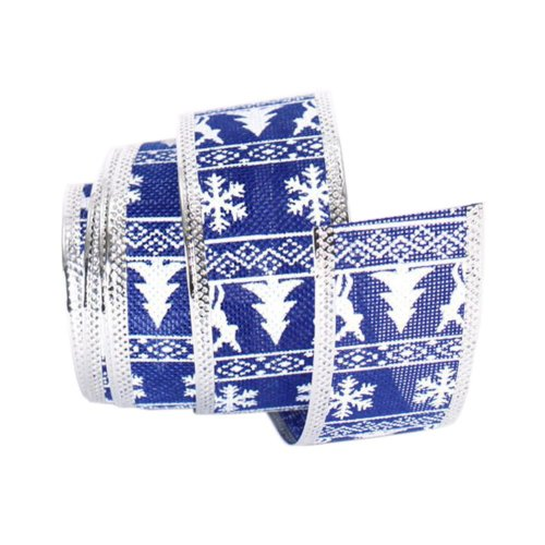 [Snowflake and Christmas Tree] Party Supply Home Decor Ribbon, Blue