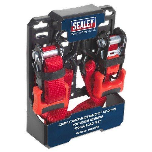 Sealey TD1202SR Slide Ratchet Tie Down 32mm x 3mtr Polyester Webbing with S Hooks 1200kg Load Test