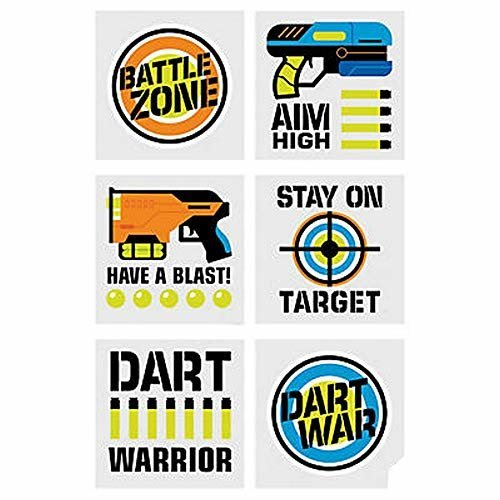 Pack of 12 - Dart Battle Temporary Tattoos - Target Party Bag Fillers