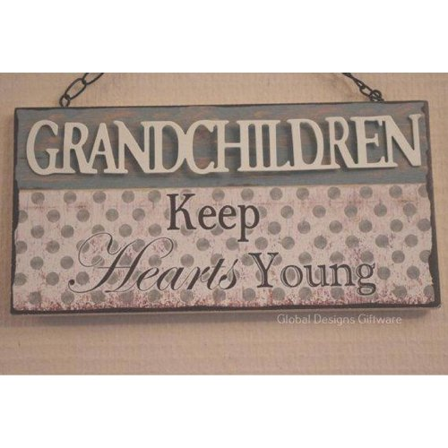 Wall Plaque Grandchildren Keep Hearts Young Wooden 3D SG1919C