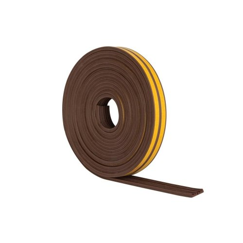 Stormguard  10m EPDM 'E' Profile Self-Adeshive Rubber Draught Excluder - Brown …